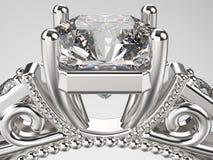 кольцо серебра золота макроса сигнала иллюстрации 3D с диамантами Стоковая Фотография