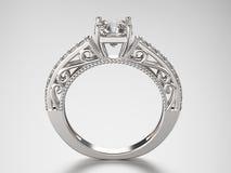 кольцо серебра иллюстрации 3D с диамантами Стоковое фото RF