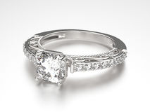 кольцо серебра иллюстрации 3D с диамантами Стоковая Фотография RF