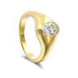 кольцо с бриллиантом желтого золота иллюстрации 3D с тенью иллюстрация вектора
