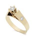 Кольцо с бриллиантом захвата на белой предпосылке Стоковые Изображения RF