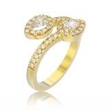 кольцо с бриллиантом листовки желтого золота иллюстрации 3D с отражением Стоковые Фотографии RF