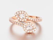 кольцо с бриллиантом листовки золота иллюстрации 3D розовое с отражением a Стоковая Фотография