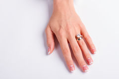 Кольцо с бриллиантом и обручальное кольцо Стоковое Фото