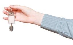Кольцо для ключей с ключами двери в изолированной руке Стоковое Фото