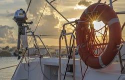 Кольцо lifebuoy на корабле Стоковые Изображения