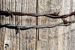 Колючая проволока на столбе Стоковая Фотография