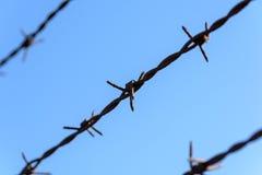 Колючая проволока тюрьмы ржавая Стоковое Фото