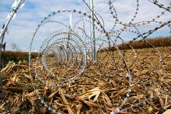 Колючая проволока устанавливая на границу Венгерск-Хорвата Стоковое Изображение RF