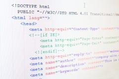 Код языка HTML Стоковое Изображение RF