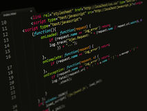 Код, JavaScript в редакторе текста Стоковые Изображения RF