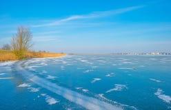 Край замороженного озера в солнечном свете в зиме стоковая фотография