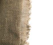 Край мешковины или старый Linen холст на белой предпосылке стоковая фотография rf