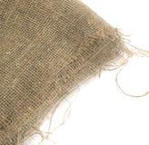 Край мешковины или старый Linen холст на белой предпосылке Стоковое Изображение RF