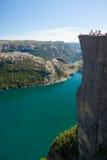Край утеса амвона в Норвегии Стоковая Фотография RF