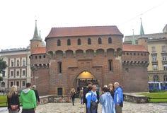Краков 19,2014 -го август: Барбакан в Кракове, Польша Стоковая Фотография RF