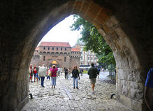 Краков 19,2014 -го август: Барбакан в Кракове, Польша Стоковое Изображение