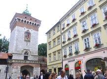 Краков 19,2014 -го август: Историческая башня в Кракове, Польша Стоковые Изображения RF
