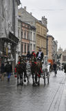 Краков 19,2014 -го август: Экипаж на улице Кракова, Польше Стоковая Фотография RF