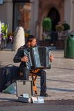 КРАКОВ, ПОЛЬША - ИЮНЬ 2012: Музыкант улицы стоковая фотография rf