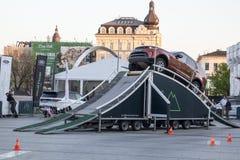 КРАКОВ, ПОЛЬША, привод 18-ое апреля 2018, испытания с пассажирами и o Стоковое Изображение