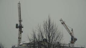 2 крана башни против облачного неба сток-видео