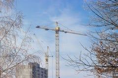 Краны башни на предпосылке конструкции, неба, деревьев покрыли f Стоковое фото RF