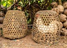Краны боя в бамбуковых клетках, Бали, Индонезии стоковое изображение rf