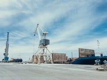 Краны в оптовом терминале для нагружая насыпного груза 2 больших крана Уголь r стоковая фотография rf