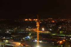 Краны и освещение на ноче Стоковое Изображение RF