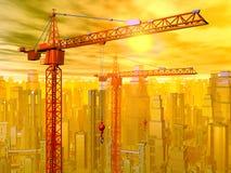 Краны конструкции перед ландшафтом города Стоковые Фотографии RF