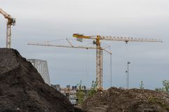 Краны на работе в Орхусе Дании Стоковое Изображение
