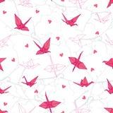 Краны Origami в влюбленности на векторе ветвей безшовном печатают Стоковая Фотография