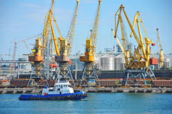Кран буксира и груза порта Стоковая Фотография RF
