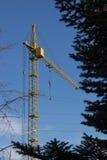Кран желтого цвета башни здания на предпосылке голубого неба и pi Стоковые Фото