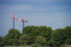 Кран конструкции возвышаясь над деревьями, городом и природой Стоковые Изображения RF