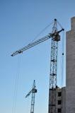 кран конструкции здания вниз Стоковая Фотография