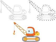 Кран конструкции шаржа также вектор иллюстрации притяжки corel Красить и делает бесплатная иллюстрация