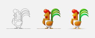 кран Новый Год 2017 Год петуха Петух в различных стилях Иллюстрация вектора