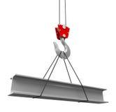 Кран поднимает новый луч крыши Стоковая Фотография
