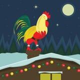 Кран рождества сидя на крыше иллюстрация вектора