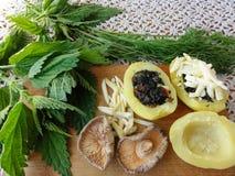 Крапива картошек заполняя с грибами стоковые изображения
