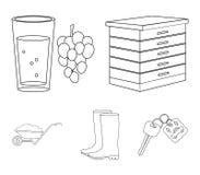 Крапивница, виноградины, ботинки, тачка Значки собрания фермы установленные в плане вводят сеть в моду иллюстрации запаса символа иллюстрация штока