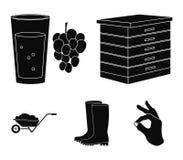 Крапивница, виноградины, ботинки, тачка Значки собрания фермы установленные в черном стиле vector сеть иллюстрации запаса символа иллюстрация штока
