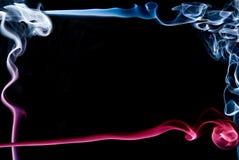 Красивая абстрактная сделанная рамка?? красного и голубого дыма Стоковая Фотография RF