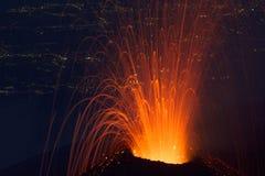 Красивая лава детали на ноче Стоковое фото RF