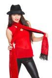 Красивая азиатская женщина в черной шляпе Стоковые Фото