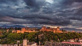 Красивая Альгамбра в заходе солнца 2 стоковая фотография