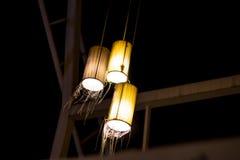 Красивая лампа от плетеного бамбука Стоковые Фото