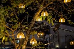 Красивая лампа от плетеного бамбука Стоковые Изображения RF